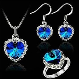 Wholesale Titanic Ring Set - DHL Austrian Crystal Heart of Ocean Pendant Necklace Rings Set Natural Earrings Woman Jewelry Set Titanic Crystal Ornaments