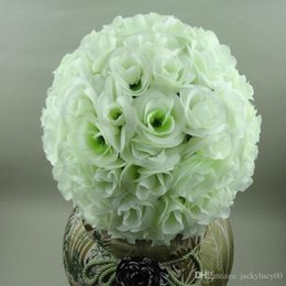 """Wholesale Kissing Silk Rose - 10""""(25cm) Artificial Flowers Ball Silk Rose Wedding Kissing Balls Pomander Party Centerpieces Decoration Free Delivery"""