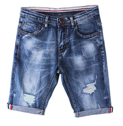 Wholesale Slimming Fabrics For Men - 2017 New Summer Blue Denim Shorts Mens Casual Hole Ripped Slim Fit Knee Length Short Elastic Fabric Hole Jeans Shorts For Men