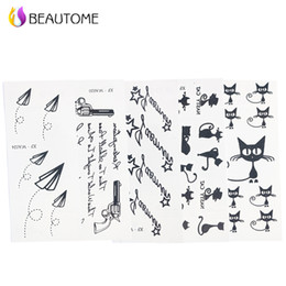 Wholesale Gun Tattoos Hands - Wholesale- 5pcs Mixed Tattoo Stencil Cat Gun and Letter Tattoo Templates Hands Body Henna Tattoo Stencils For Professional Painting