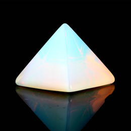 Wholesale Pyramid Stone - 40mm Opal Opalite Crafts Engraved Pyramid Natural stones Chakra Carved healing reiki Cifts Feng Shui free pouch