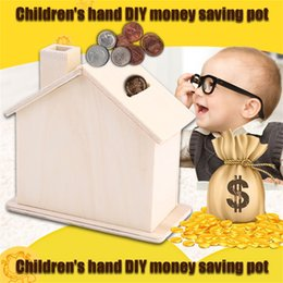 Wholesale House Piggy Bank - Wholesale-New Children Baby Handmade DIY Baipi Wooden Coin House Piggy Bank Chalet Save money Base Art Decor Toy Collectible Ornament Hot!