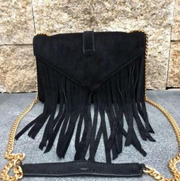 Wholesale Suede Fringe Crossbody Bag - 2017 NEW style top quality brand women Chain tassel Fringe Suede Small Crossbody Bag 381668