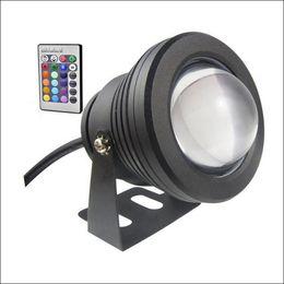 Wholesale Spotlight Housing - underwater spotlight LED underwater light 10W LED fountain light DC AC 12V with aluminum housing IP68 1 IR remote controller