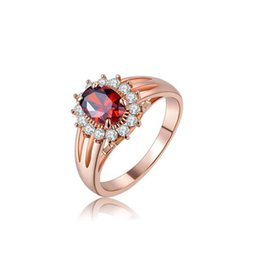 Wholesale Vintage Red Rose Ring - Crystal and Siam Zircon Brass Ring in Rose Gold For Women Engagement and Wedding Vintage Jewelry 1010123390b
