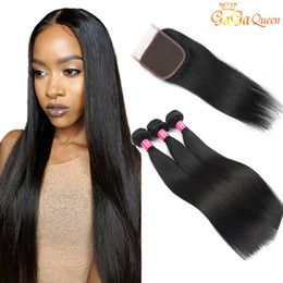 Wholesale Virgin Indian Closures - Wholesale 8A Brazilian Straight hair with closure Peruvian Malaysian Indian Remy Human Hair Brazilian Straight Virgin Hair with 4x4 Closure
