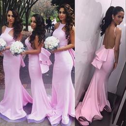 Argentina La venta caliente rosa sirena vestidos de dama de honor 2017 del cuello de joya sin respaldo satinado barato fiesta de graduación vestido de dama de Honor Vestidos Suministro