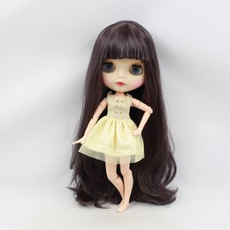 Wholesale Blythe Hair - blythe factory doll factory blyth Doll bjd neo 300BL9219 Joint body matte frosted face With Bangs fringes Dark purple hair 1 6 30cm gift toy
