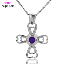 Wholesale blessing necklace - 5 lot Wholesale 3 Styles in stock 18kgp Fashion Jesus bless the cross cages DIY pearl  gem beads locket cages Pendant necklace
