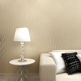 Wholesale Textured Paper - Wholesale- Champagne Gold White Beige Vertical Stripes Textured Wall Paper Plain Solid Color Vinyl Waterproof Wallpaper For Barthroom
