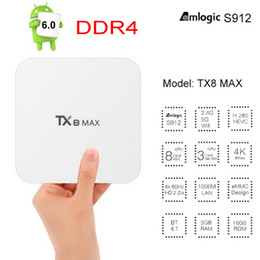 Wholesale Eu Uk White - TX8 Max Amlogic S912 3GB DDR4 32GB 16GB Octa Core Android 6.0 TV BOX 2.4 5Ghz WIFI Bluetooth 1000M LAN 4K H.265 Smart Media Player VS X92