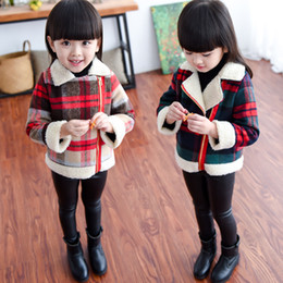 Wholesale Child Girl Tweed Coat - ew Autumn Winter Children Plaid Coat Fashion Baby Girl Plaid Jackets Girl's Cashmere Long Sleeve Lattice Coats Kids Children Warm Clothing
