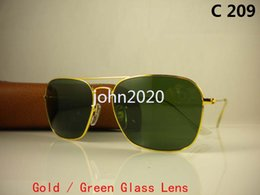 Wholesale Eyewear Clear Lenses - 1pcs High Quality Mens Womens CARAVAN Sunglasses Metal Gold Frame Black Glasses Lens 58mm Come With brown Box And Case Eyewear
