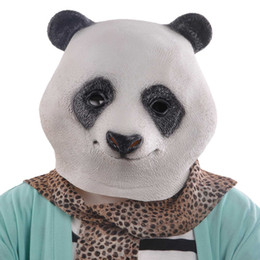 Wholesale panda costumes for adults - New Animal Panda Head Latex Mask Panda Costume For Halloween Party Latex Adult Free shipping Hot