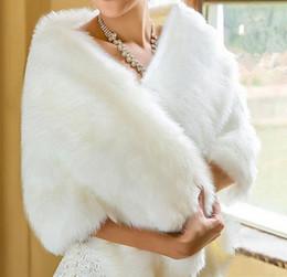 chaleco nupcial de la boda blanca Rebajas 2018 marfil blanco nupcial abrigos chales chaquetas de invierno de piel chaqueta de las mujeres piso de longitud capas fiesta de bodas