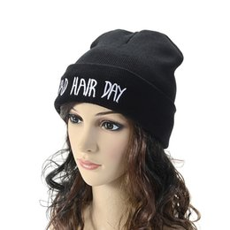 Wholesale Hair Neon - 2017 Winter Warm Beanies Letter BAD HAIR DAY Neon Knitted Hats Women Casual Gorro Elastic Beanie Men Bonnet Winter Skullies Caps