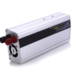 Wholesale Sine Wave Power Inverter Charger - Wholesale- 1500W Watt Power Inverter DC  12V to AC 220V Portable Car Charger Converter Adapter DC 12 to AC 220 Modified Sine Wave USB Port