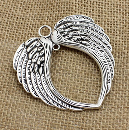 Wholesale Metal Charms Pendants Wings - 30Pcs lot Vintage Silver Angel Wings Charms Metal Big Pendant For Jewelry Making 65*69mm