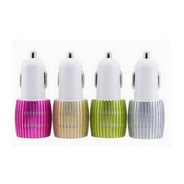 Wholesale car cigarette power - Colorful Led Car Charger 2 ports Cigarette Port 5v 2.1A Micro auto power Adapter Dual USB for Phone 7 plus samsung s7