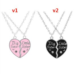 Wholesale Silver Diamond Heart Necklace - Europe and the United States Big Little Sister letters diamond heart-shaped stitching necklace good sister girlfriend family chain
