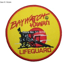 "Wholesale Hawaii Costume - 4"" Baywatch Hawaii Lifeguard Life Guard Movie TV Show Series Halloween Costume Embroidered iron on sew On patch Tshirt TRANSFER"