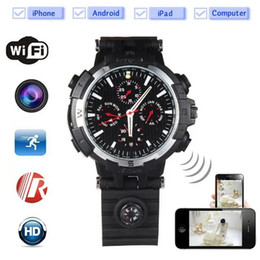Wholesale Wireless Vedio Camera - Wireless WIFI Spy Watch pinhole Camera HD 720P Night Vision Watche hidden camera Audio voice vedio recorder DVR with Motion Detection