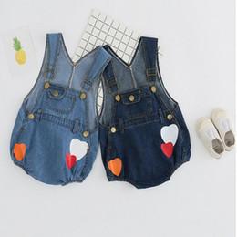Calça jeans em geral on-line-Menino Da Menina Roupas Bonito Cowboy Imprimir Strap Jeans Shorts Verão Do Bebê Roupa Dos Miúdos Calças Meninos Cowboy Imprimir Macacão Romper