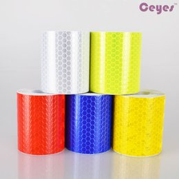 Wholesale Reflective Safety Tape - 3M Car Styling Reflective Safety Warning Tape Film Sticker Conspicuity Tape Roll Self Adhesive Tape Car Stickers Auto Accessories Styling