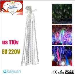 meteor lights Promo Codes - LED Meteor Light 30cm waterproof Meteor Shower Rain Tubes LED strings Lighting 8pcs set for Party wedding Decoration Christmas Garden String