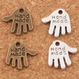 Wholesale hand charm necklace - Hand Made Hand Charms Pendants 13x11mm 200pcs lot Tibetan Silver bronze Fit Bracelets Necklaces Jewelry DIY L370
