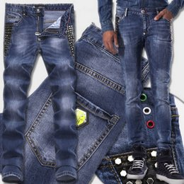 Wholesale Skull Jeans Men - Studs Jeans Man Luxury Brand Hot sale Studs Patch Fading Slim Fit Blue Denim Pants Yellow Metal Logo Patches Skull Brand Free Ship