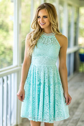 Wholesale Beach Bridesmaid Dresses Mint Green - Mint Lace Bridesmaid Dresses 2017 Country Beach Weddings with Pearls High Neck and Zipper Back Fully Lace Lady Mini Formal Dress Custom Made