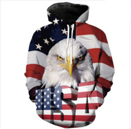 Wholesale American Flag Pullover - Newest Fashion Womens Mens Harajuku Style American Flag Eagle USA Letter Funny 3D Print Casual Hoodies Pullovers Sweatshirts LMS000108