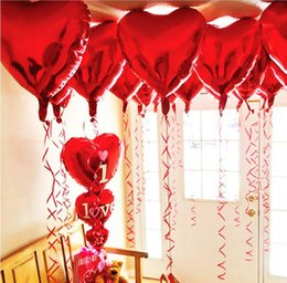"""Wholesale red heart balloons - 50 PCS lot 18"""" Red Heart Foil Balloons Party Balloon Supplies Birthday Wedding Decoration Classic Toys"""