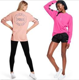 Wholesale Summer Tracksuit Women - Hoodies slong sleeve pullover Sweatshirts Hoodie summer love pink T-shirt sweatshirts vest camis instagram camis girl Tracksuit
