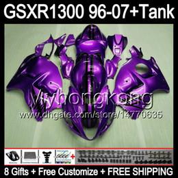 Deutschland 8gift Für SUZUKI Hayabusa GSXR1300 96 97 98 99 00 01 13MY214 glänzend lila GSXR 1300 GSX-R1300 GSX R1300 02 03 04 05 06 07 TOP lila Verkleidung cheap hayabusa purple Versorgung