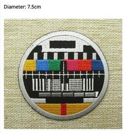 Wholesale Test Cooling - RETRO TV TEST CARD Round Embroidered IRON ON  SEW ON Cool Biker Vest Patch Military Badge Wholesale Free shipping