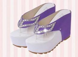 Wholesale Thick Platform Wedge Sandals - 2017 women Brand Thick Bottom Platform Flip Flops Rhinestone Wedge Heel Shoes Patchwork Woman Summer Sandals W58#