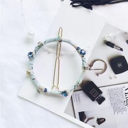 Wholesale Wholesale Diamond Hair Pins - 2017 Hot Sale Korean Cloth Circle With Blue Diamond Hand Made Women Hair Clips Free Shipping Geometry Black Women Hair Pins 435