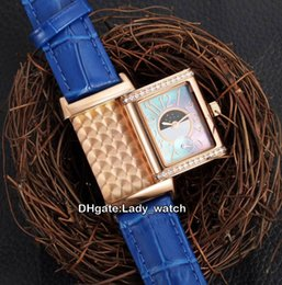 Wholesale Womens Classic Watch - Girlfriend Wife Birthday Gift AAA Quality Reverso Classic Q2655420 Swiss Quartz Rose Gold Diamond Bezel Shell Dial Womens Watch Lady Watches