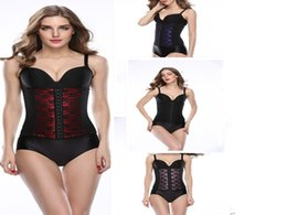 Wholesale Corset Red Lace Underbust - Lace Mesh Waist Cincher Training Corsets Waist Trainer Cincher Sport Body Shapers Girdle Steel Boned Rubber Underbust Shaperwear