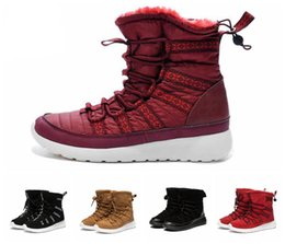 Wholesale Slip Shoes Men Cowboy - With Box Christmas Gift High Cut RosheRun Roshe Run Women Running Boost Sneakers Boots Winter Fasion Shoes 36-41