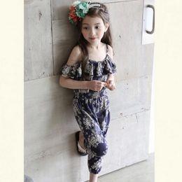 Wholesale Strapless Korean - Summer Girls Romper Floral Printed Strapless Kids Jumpsuit Korean Fashion Flower Children Bodysuit Child Suspender Pants C1154