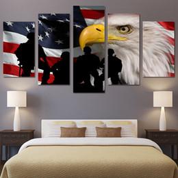 2019 acrílico pintura paisajes marinos La decoración del hogar moderno Wall Picture America Flag Impresión de la lona Painting 5 Panel Unframed Eagle and Soldiers Paintings para la sala de dibujo