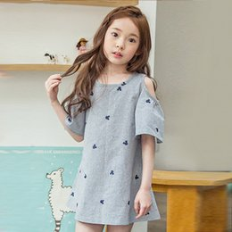 Wholesale Painting Boats - New Big Girls Dresses Off-shoulder Summer Kids Dress Bear head Stars Painted Children Clothing Dresses Casual Loose Korean Girl Dress A6741