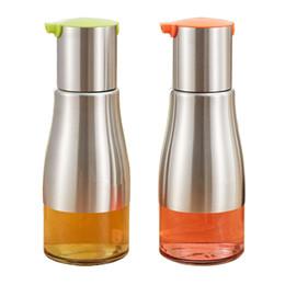 Wholesale Oil Vinegar Dispensers - Lot 2 pieces 304 Stainless Steel Glass Olive Oil Dispenser Bottle Leakproff Made of Food Grade Material 320ml For Kitchen Vinegar Soy Sauce