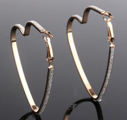 Wholesale Matte Earrings - Women Heart Hoops Matte Wide Band Earrings Female Fashion Cool Ear Jewelry Eye Focused Ear Dangles