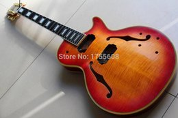 Wholesale Electric Guitars Sale - Wholesale- Wholesale electric guitar body for jazz semi hollow ebony fingerboard in vintage sunburst aged cherry HOT SALE 121024