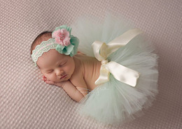 Wholesale Photographic Props - Baby Photography Tutu Skirt With headband Newborn Cute tutu dress layers Bow Photographic studio Prop 2017