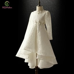 Wholesale Taffeta Princess Embroidery - 2017 Winter Flower Girls Dresses for Wedding Appliques Children Princess Long-sleeved Lace Taffeta Long Party Gowns First Communion Dresses